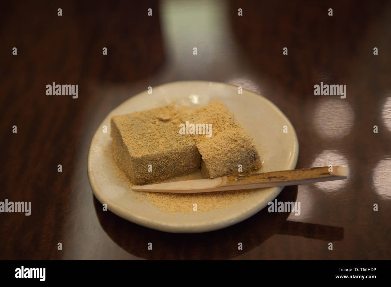 Yokan Kinako - jellied red bean paste dusted with soybean flour - Stock Image