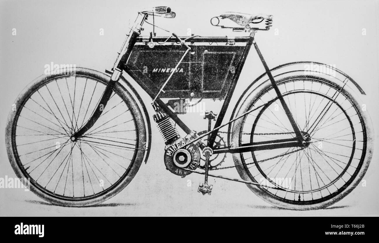 Minerva Motocyclette, motorized bicycle, forerunner of motorcycles by the Belgian luxury automobile manufacturer Minerva, Belgium - Stock Image