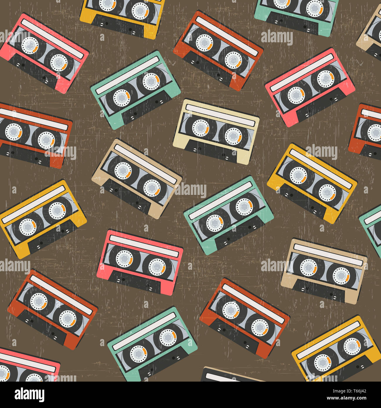 seamless background with vintage analogue music recordable cassettes - Stock Image