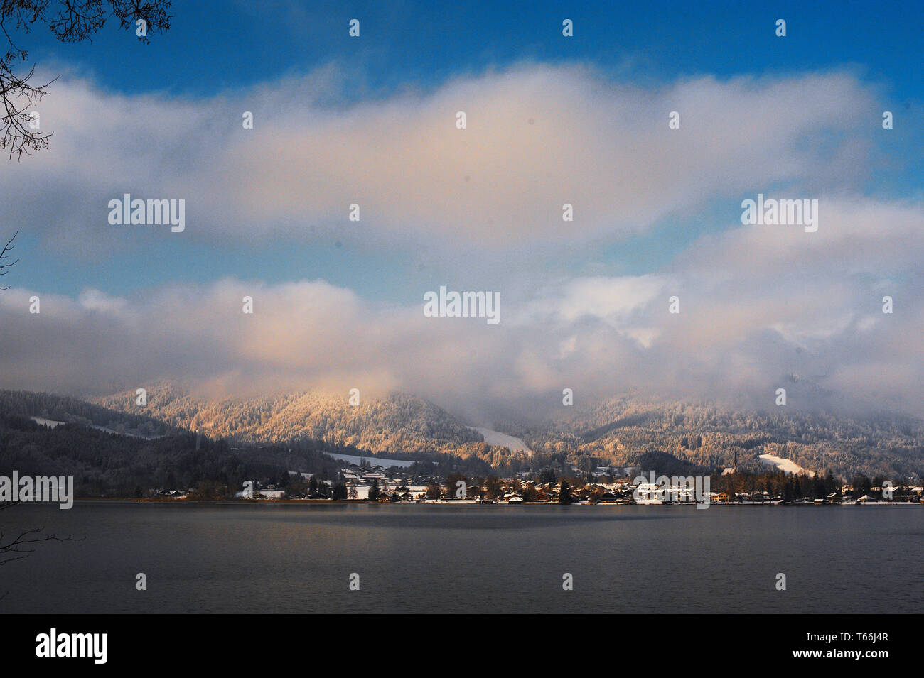 Beautiful view to Lake Tegernsee, Bavaria, Germany - Stock Image