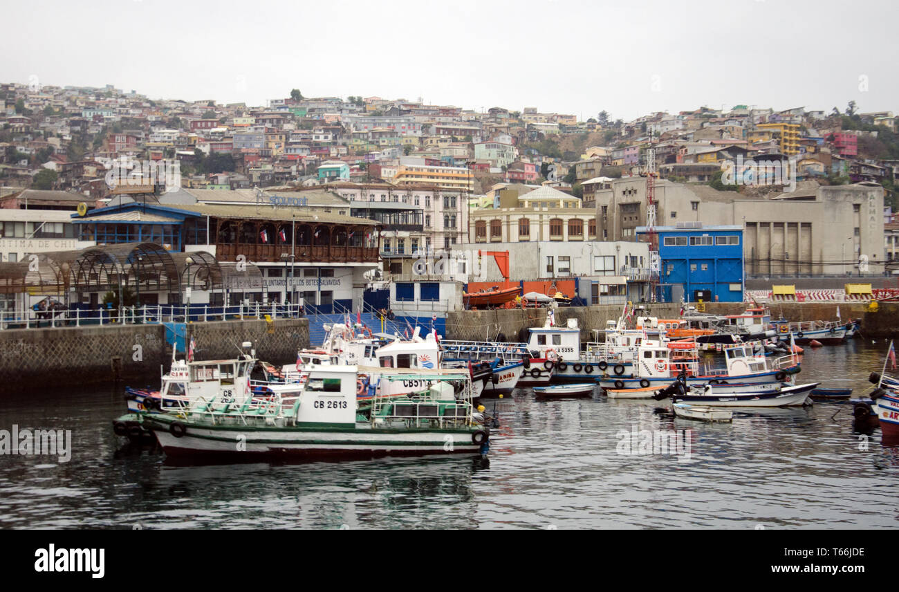 Small and medium-sized boats in harbour in Chile's historic port of Valparaiso; the hillside city lies beyond - Stock Image
