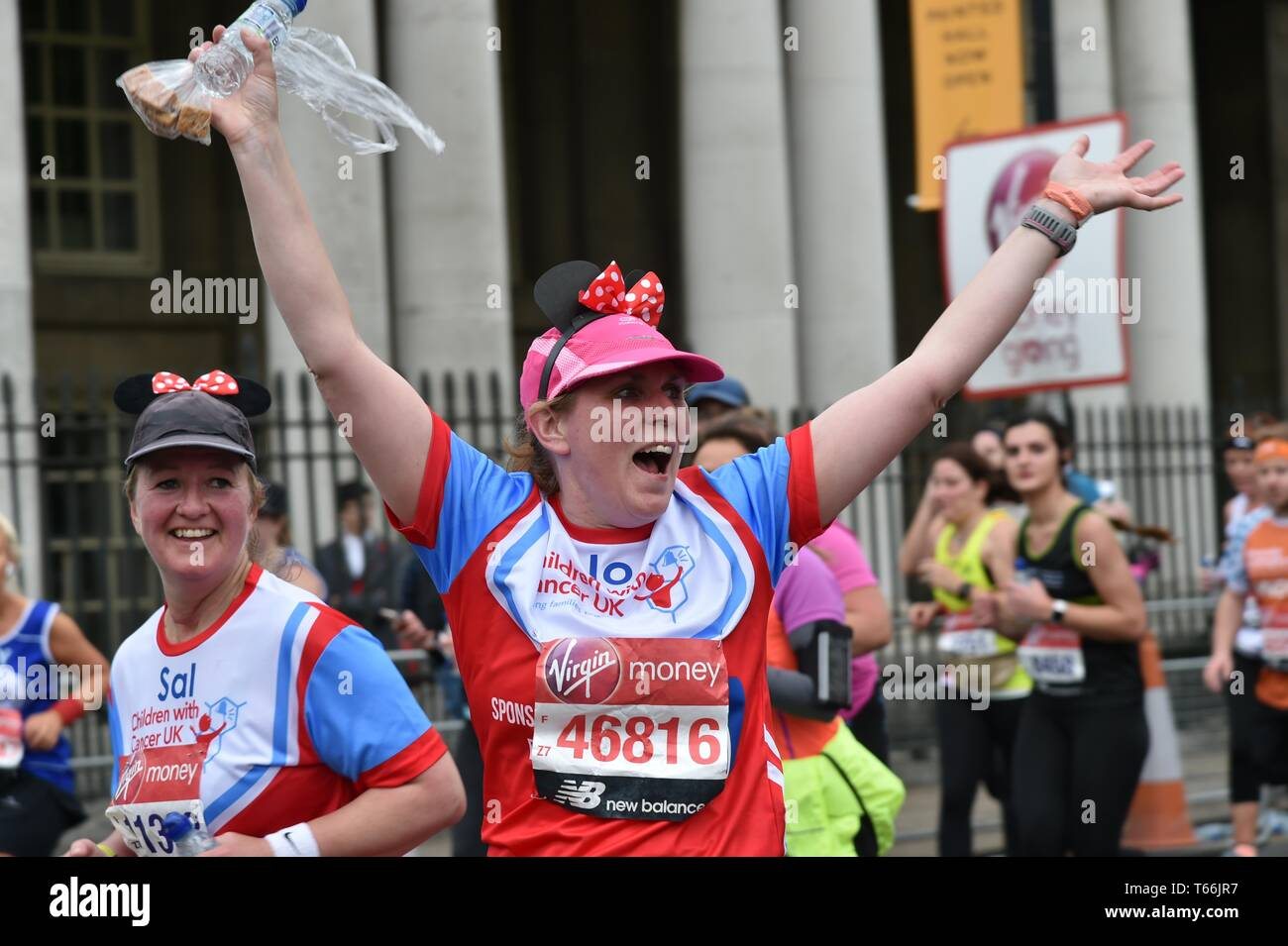 London Marathon 2019, runners at the greenwich section of the race - Stock Image