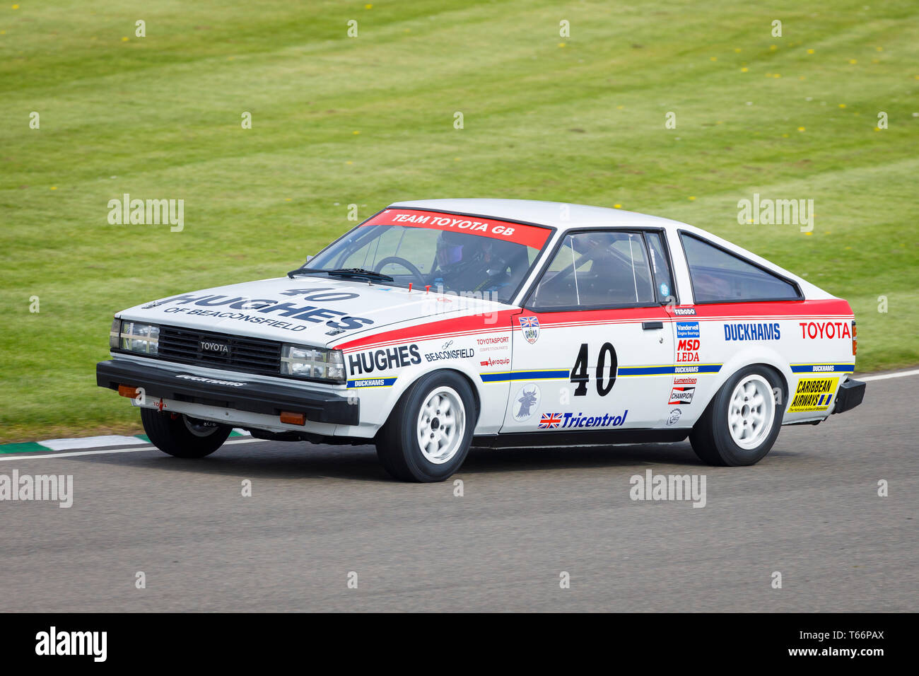 1980 Toyota Corolla 1600GT Coupe with driver David Green during the Gerry Marshall Trophy race at the 77th Goodwood GRRC Members Meeting, Sussex, UK. - Stock Image