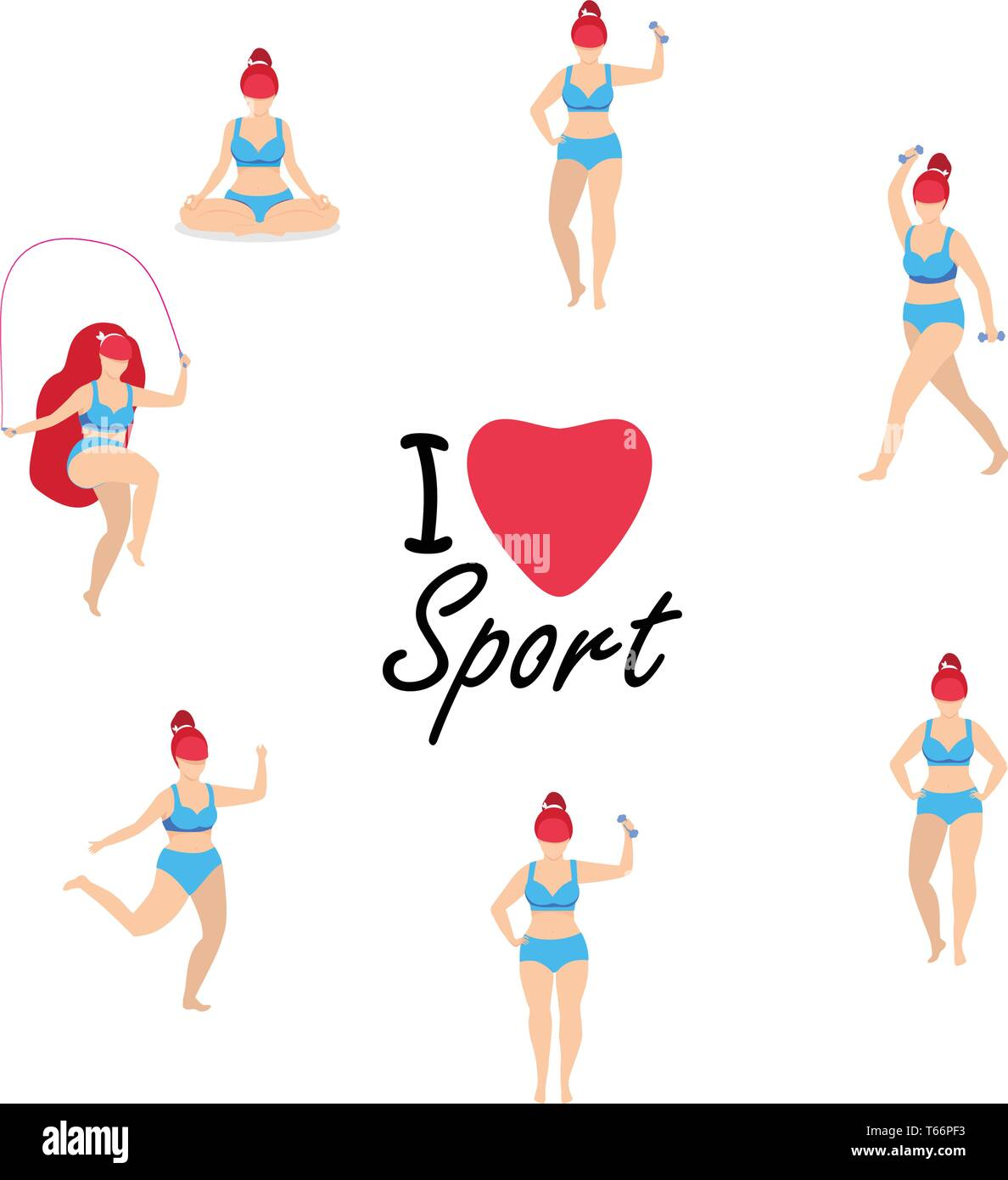 Workout Girl Set. Woman Doing Full Body Fitness, Yoga Exercises with Dumbbells, Jumping Rope. Fitness, Weight Loss. Plus Size I Love Sport Cartoon Fla - Stock Vector