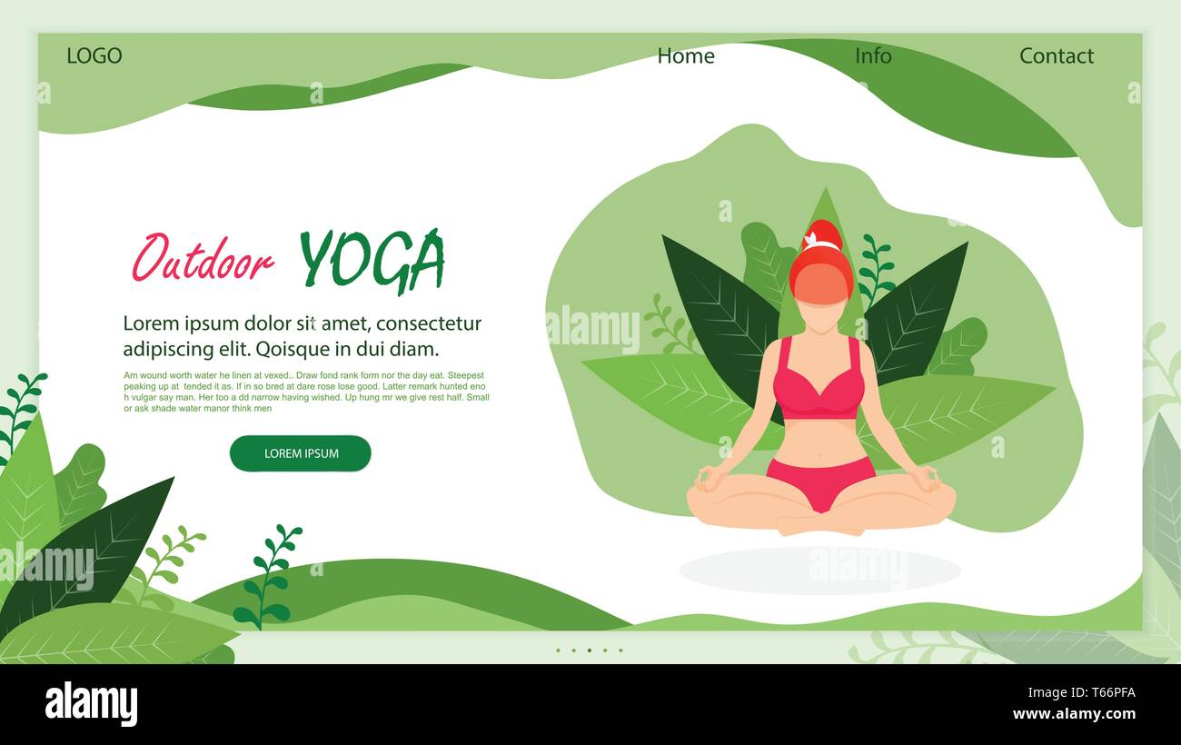 Outdoor Yoga. Curvy Flexible Sporty Plus Size Young Woman Doing Asana on Nature. Girl in Lotus Position on Green Leaves Background. Body Love. Cartoon - Stock Vector