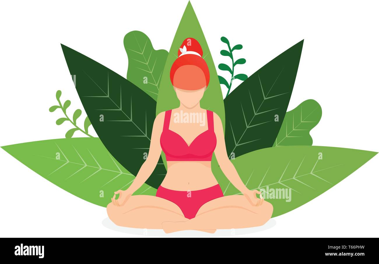 Yoga Girl Meditate in Park Lotus Position on White Background with Green Leaves. Woman Practicing Yoga Outdoors. Padmasana Yoga Pose for Relaxation an - Stock Vector