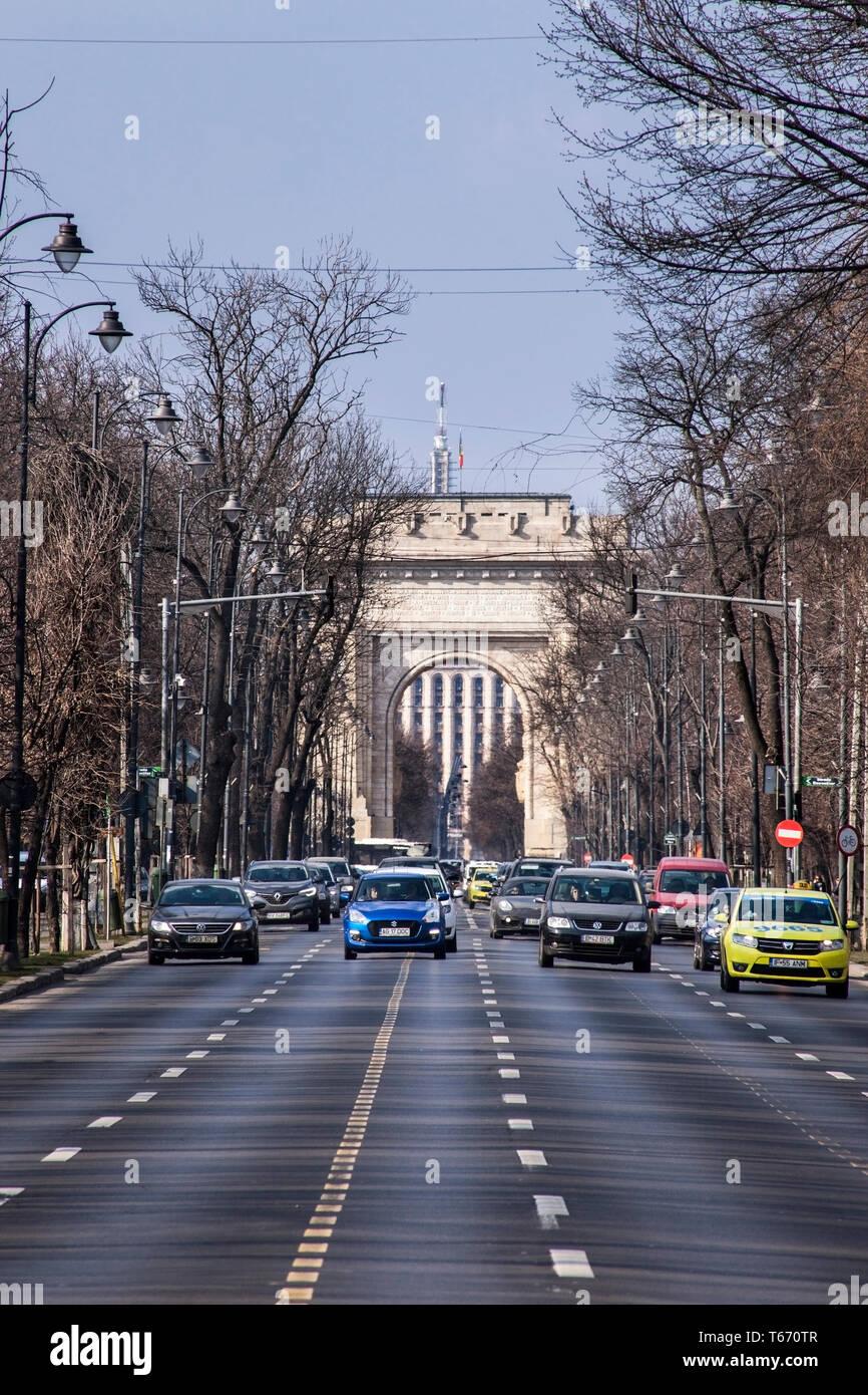 The Arcul de Triumf or Arch Of Triumph, Bucharest, Romania Stock Photo