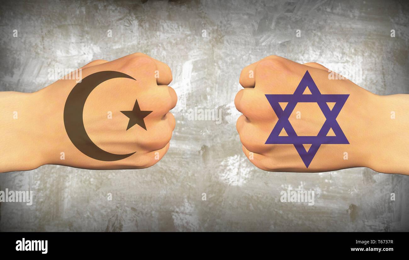 Islam vs Judaism. Men's fists Stock Photo
