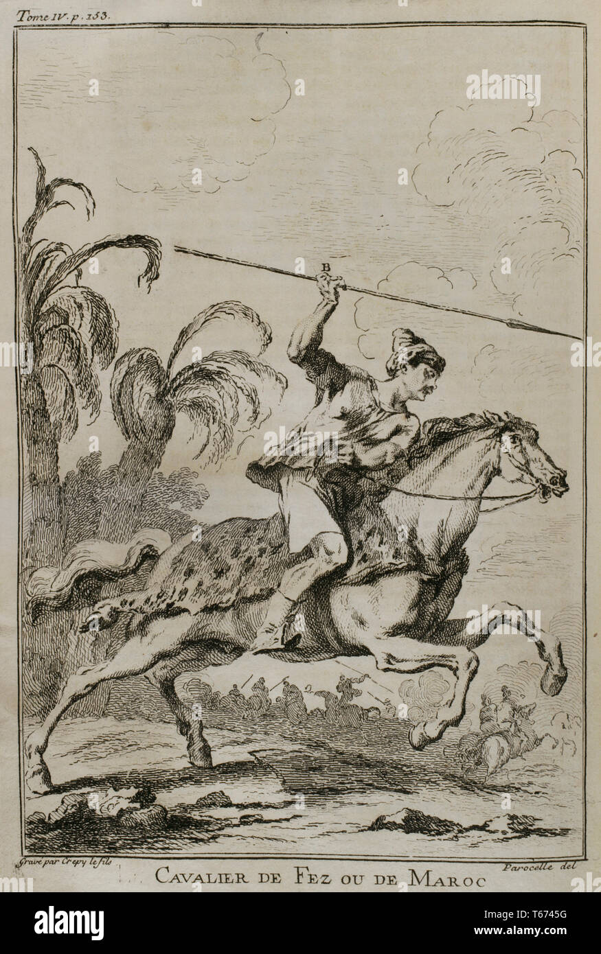 History by Polybius. Volume IV. French edition translated from Greek by Dom Vincent Thuillier. Comments of Military Science enriched with critical and historical notes by M. De Folard. Paris, chez Pierre Gandouin, Julien-Michel Gandouin, Pierre-Francois Giffart and Nicolas-Pierre Armand, 1728. Rider from Fez or Morocco. Engraving. - Stock Image