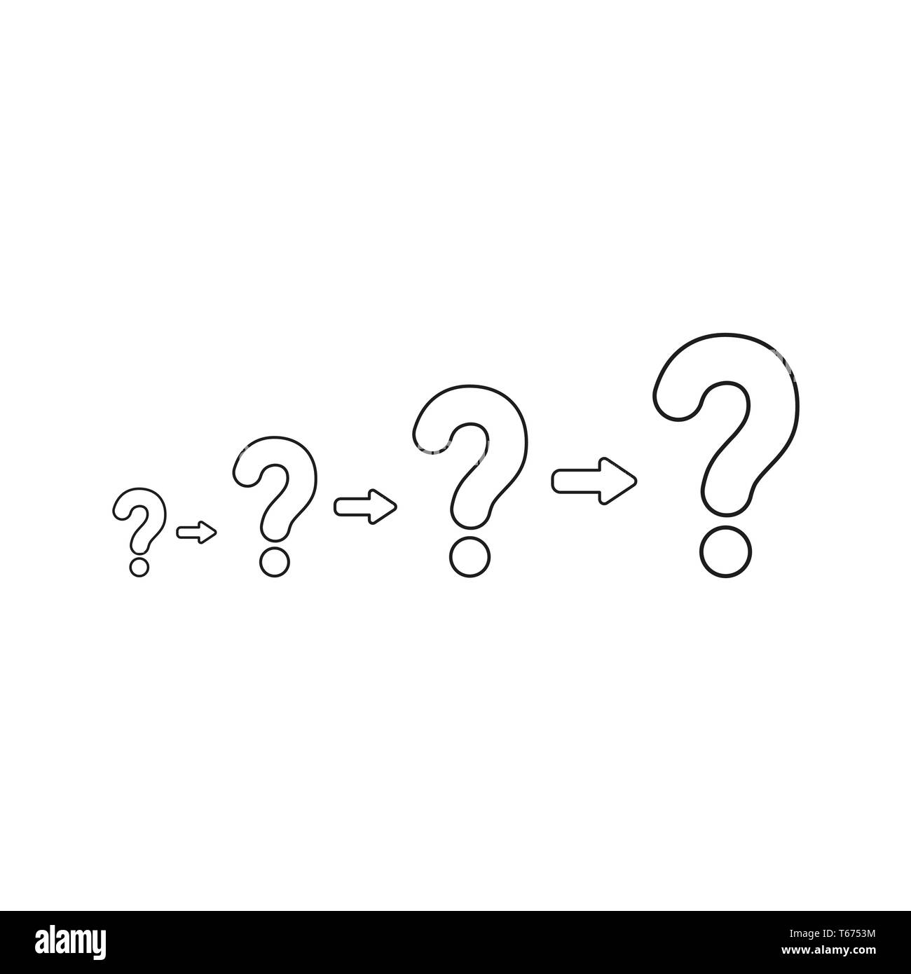 Vector illustration concept of growing problems with question marks. Black outlines. - Stock Image