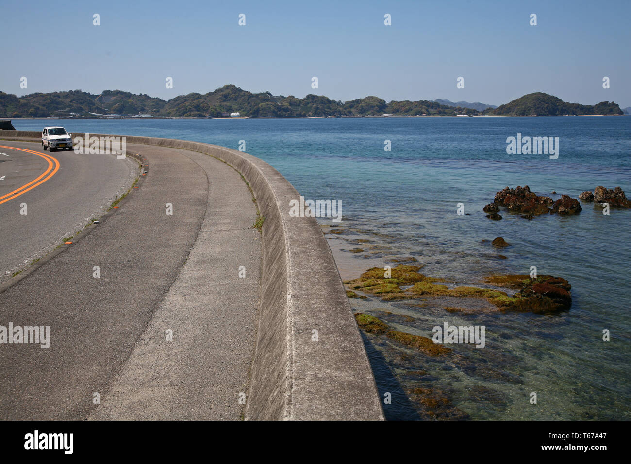 ocean front road along Seto Sea near Matsuyama Japan Stock Photo