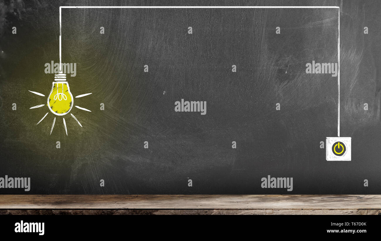 chalk drawing of glowing light bulb and switch on blackboard symbolizing an idea or innovation - Stock Image