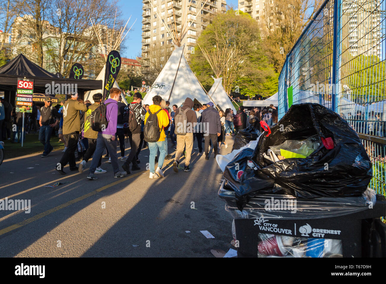 VANCOUVER, BC, CANADA - APR 20, 2019: Garbage left behind by