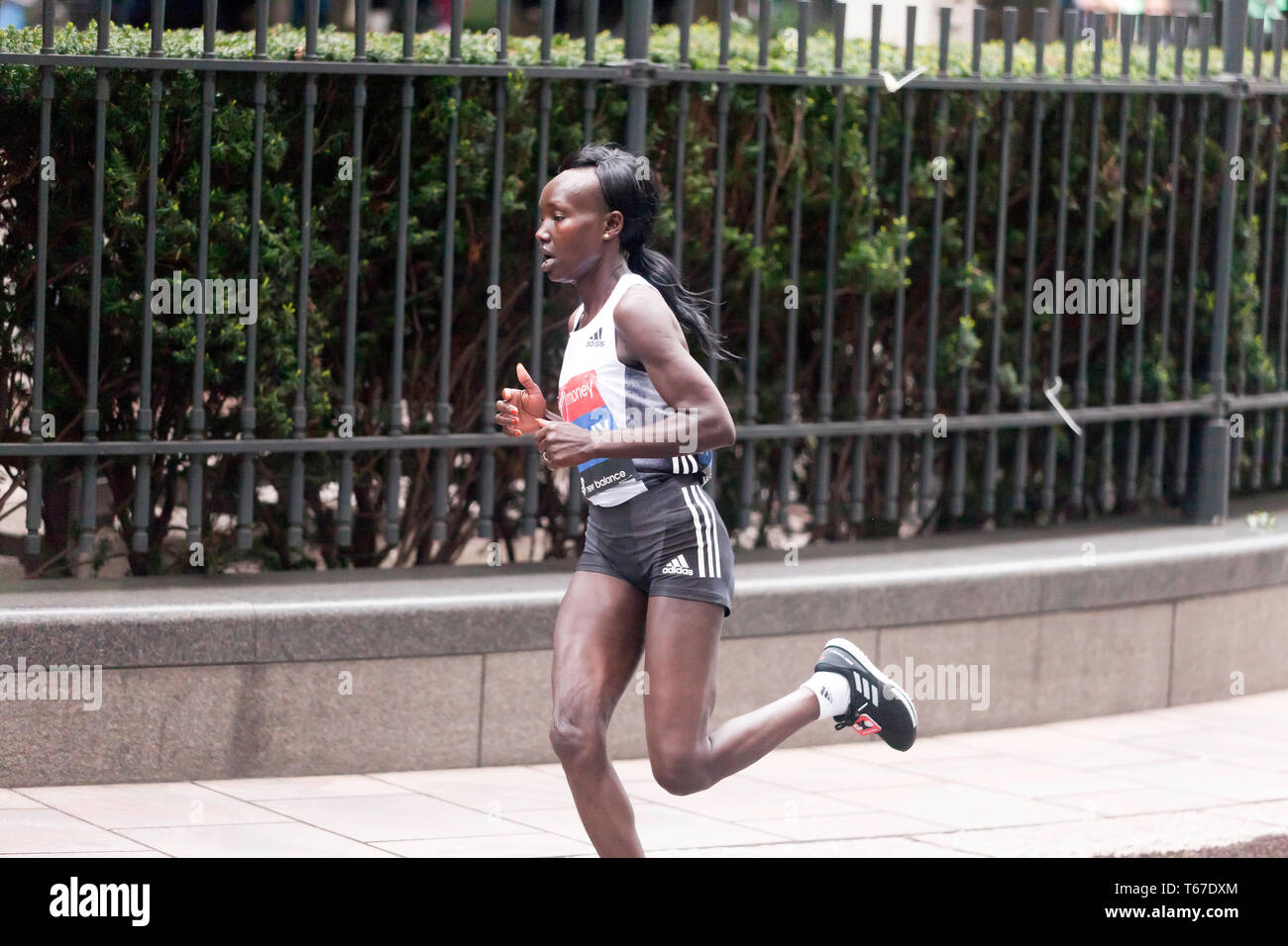 Kenyan distance runner, Mary Keitany competing in the Elite women's 2019 London Marathon. Mary went on to finish 5th in a time of 02:20:58 - Stock Image