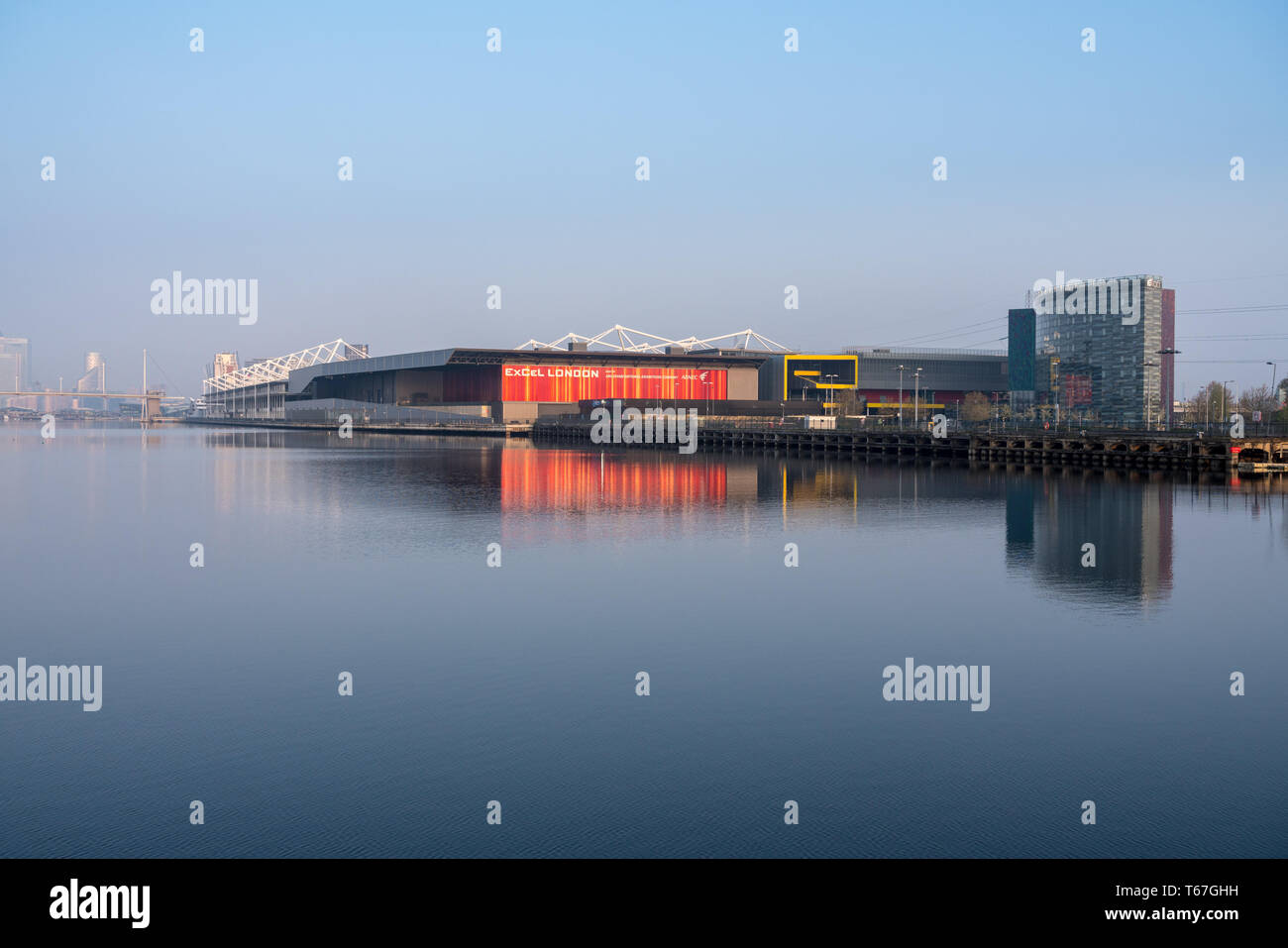 D Exhibition Docklands : Excel conference center in london docklands at sunrise stock photo