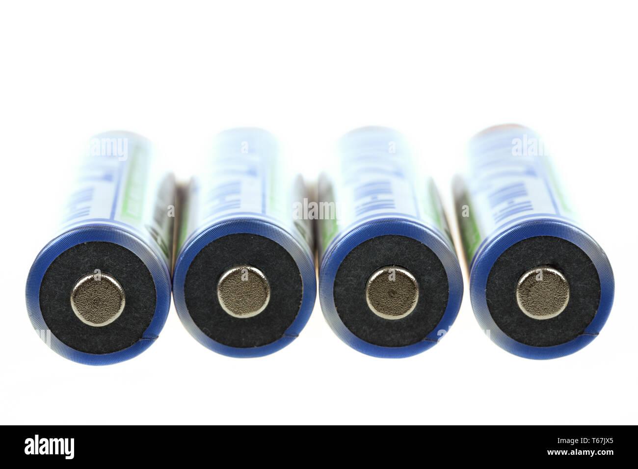 macro of rechargeable NIMH batteries - Stock Image