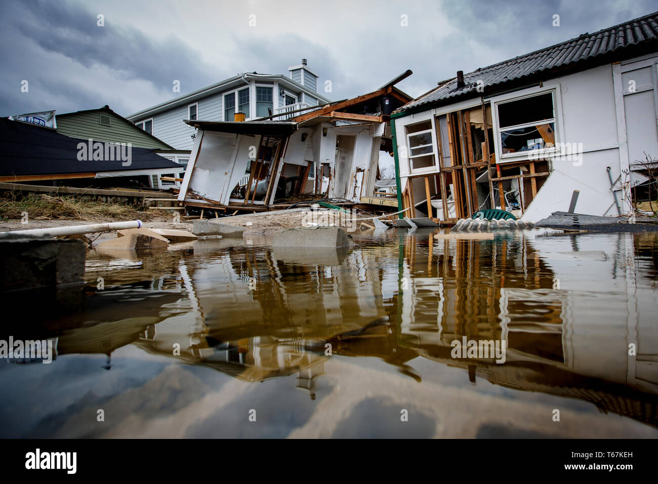 The Rockaways were especially hard hit by the Hurricane Sandy, with storm surge, hurricane winds and uncontrollable fires devastating the beach community. - Stock Image