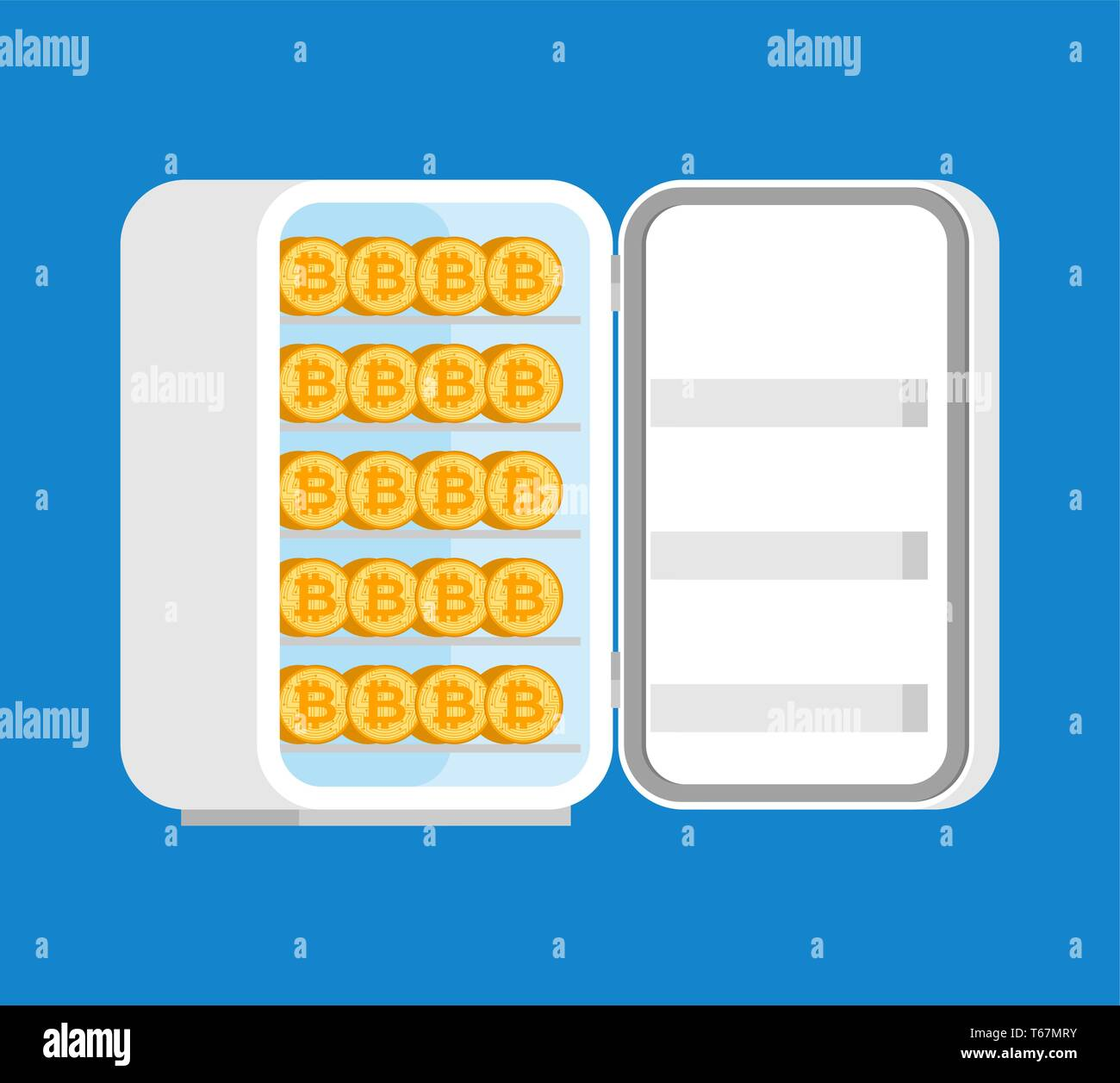 Bitcoin in fridge. Cold crypto wallet. Cryptocurrency storage. Currency preservation   - Stock Image