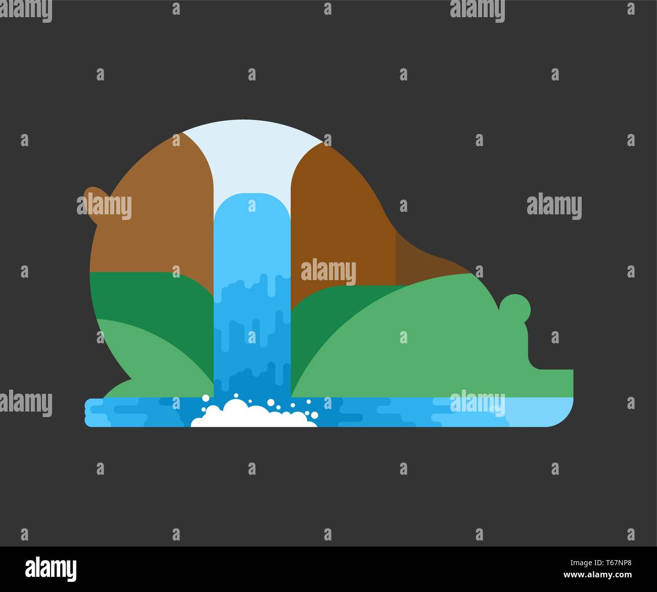 Silhouette bear forest landscape in its outlines. Wildlife Inside predator.  - Stock Vector