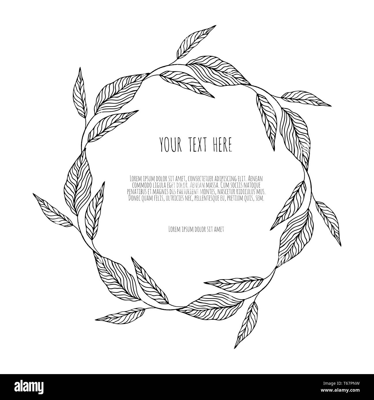 wreath with simple branches and leaves. - Stock Image