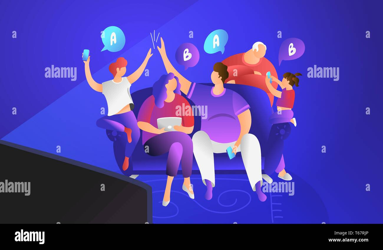 TV quiz show concept flat vector illustration of family sitting on couch at home and playing. Happy parents spending time with kids answering question - Stock Vector