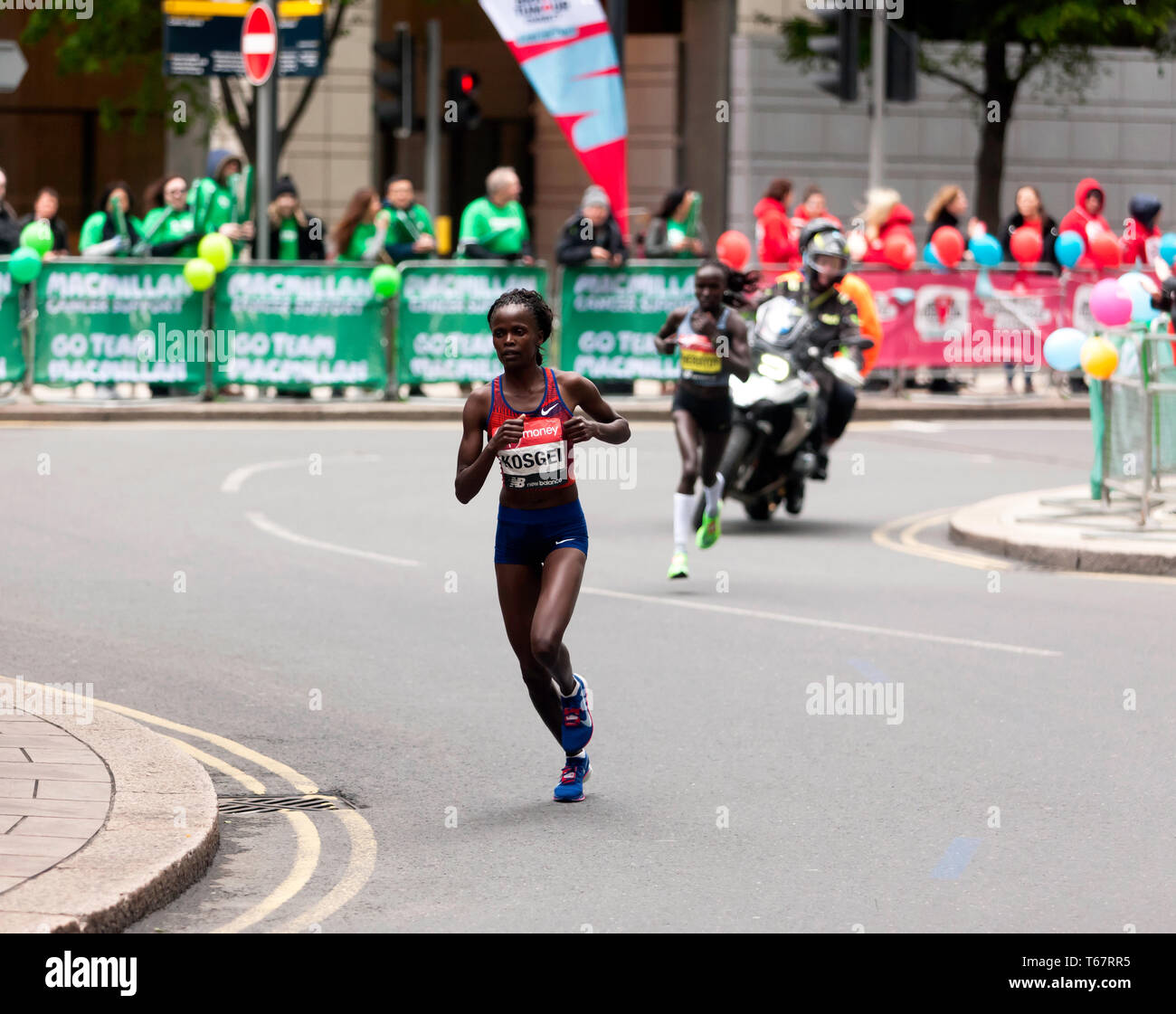 Brigid Kosgei (KEN), and Vivian Cheruiyot (KEN), competing in the Womens Elite 2019 London Marathon.  They went on to finish 1st and 2nd, respectively, in times of  02:18:20 and  02:20:14, respectively Stock Photo