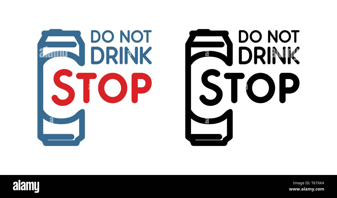 Anti-alcoholism propaganda badge. Colored and black Vector Sign with beer bottle and slogan - Do Not Drink, Stop. - Stock Vector