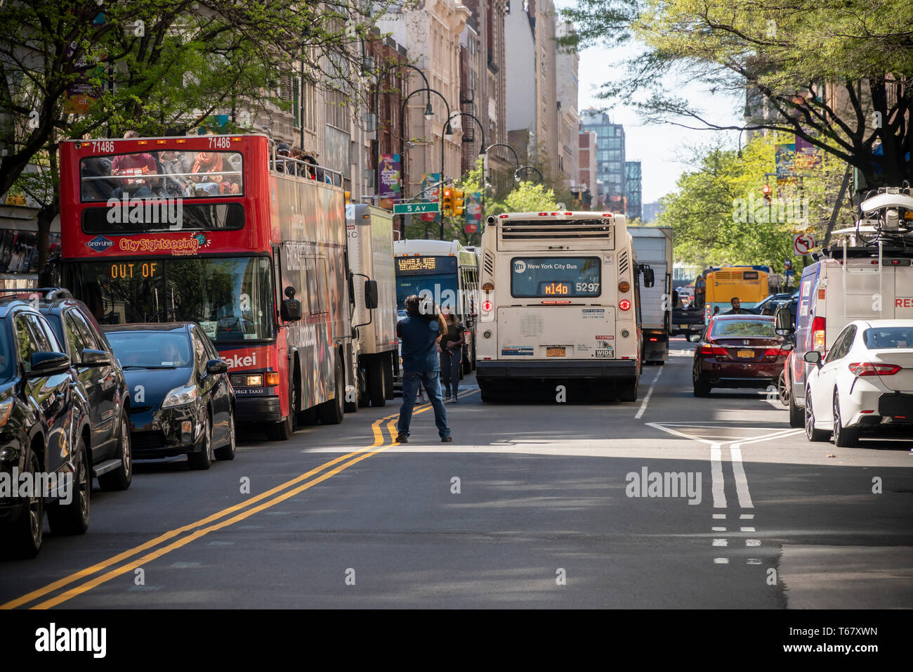 Traffic on 14th Street in New York on Wednesday, April 24
