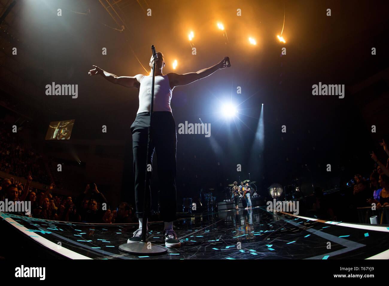 BARCELONA - APR 6: Imagine Dragons (pop music band) perform in concert at Palau Sant Jordi stage on April 6, 2018 in Barcelona, Spain. - Stock Image