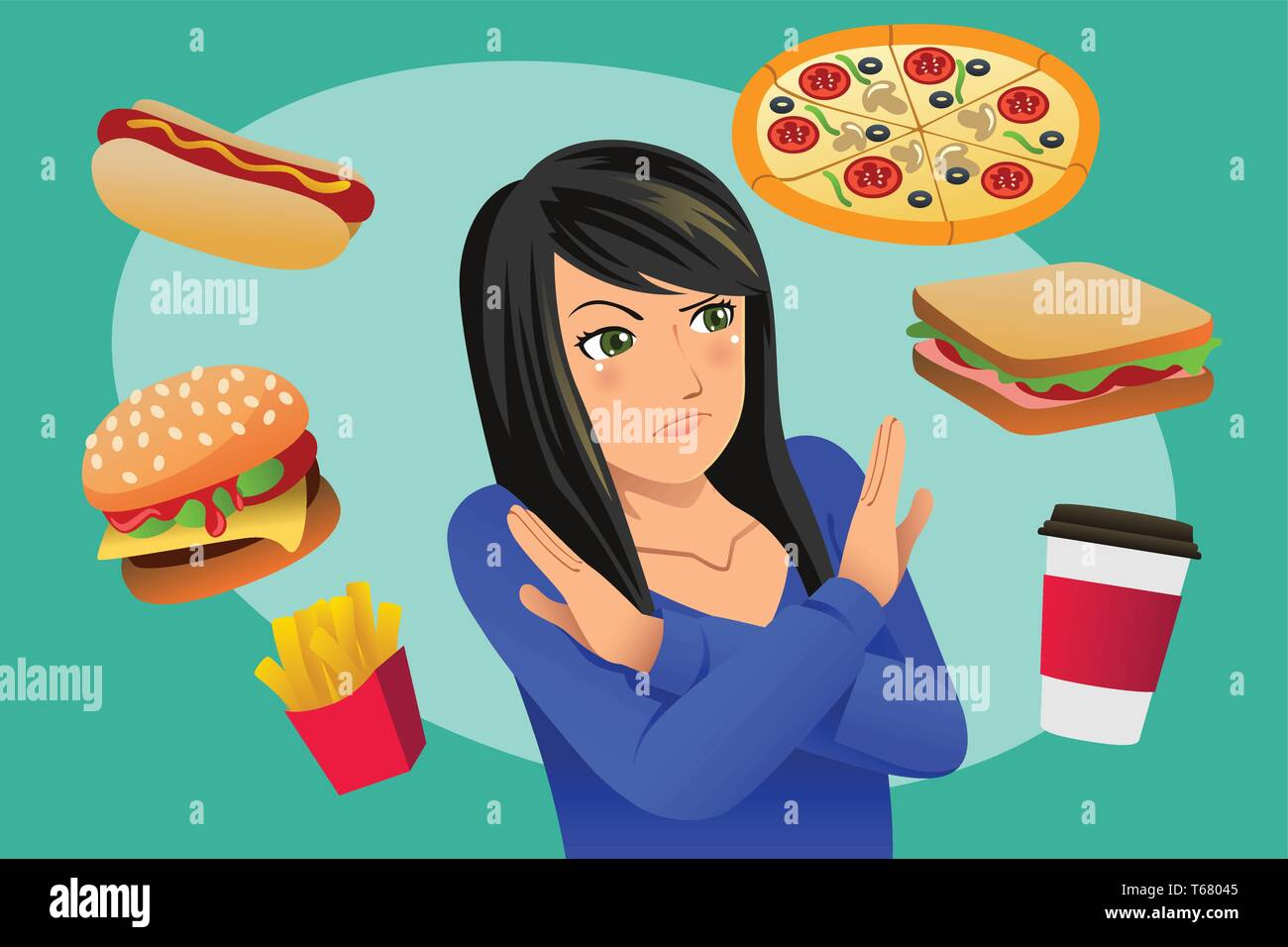 A vector illustration of Woman Refusing Fast Food Temptation - Stock Vector