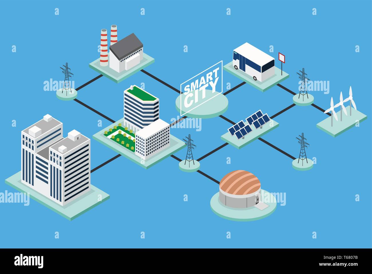 A vector illustration of Smart City Technology Conceptual Isometric - Stock Vector