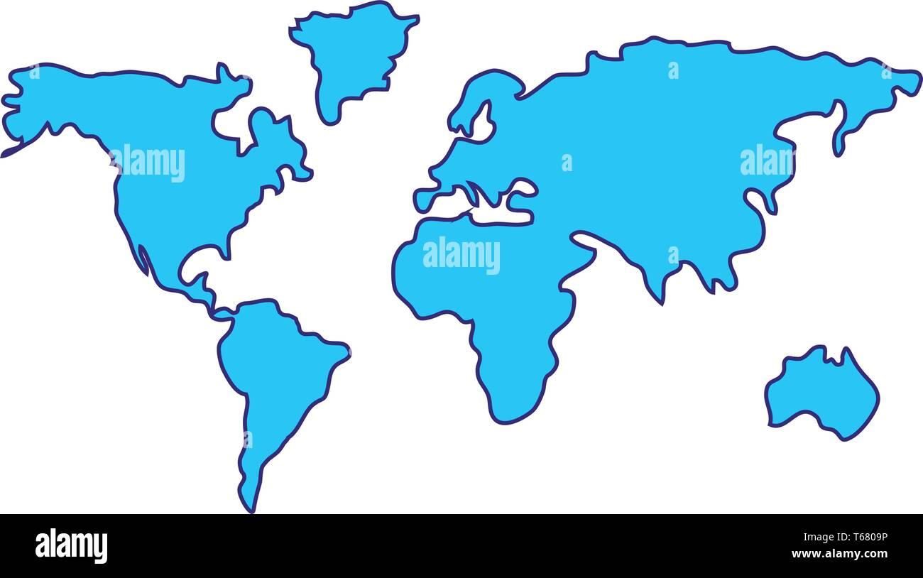 World Map Cartoon Vector Illustration Graphic Design Stock Vector