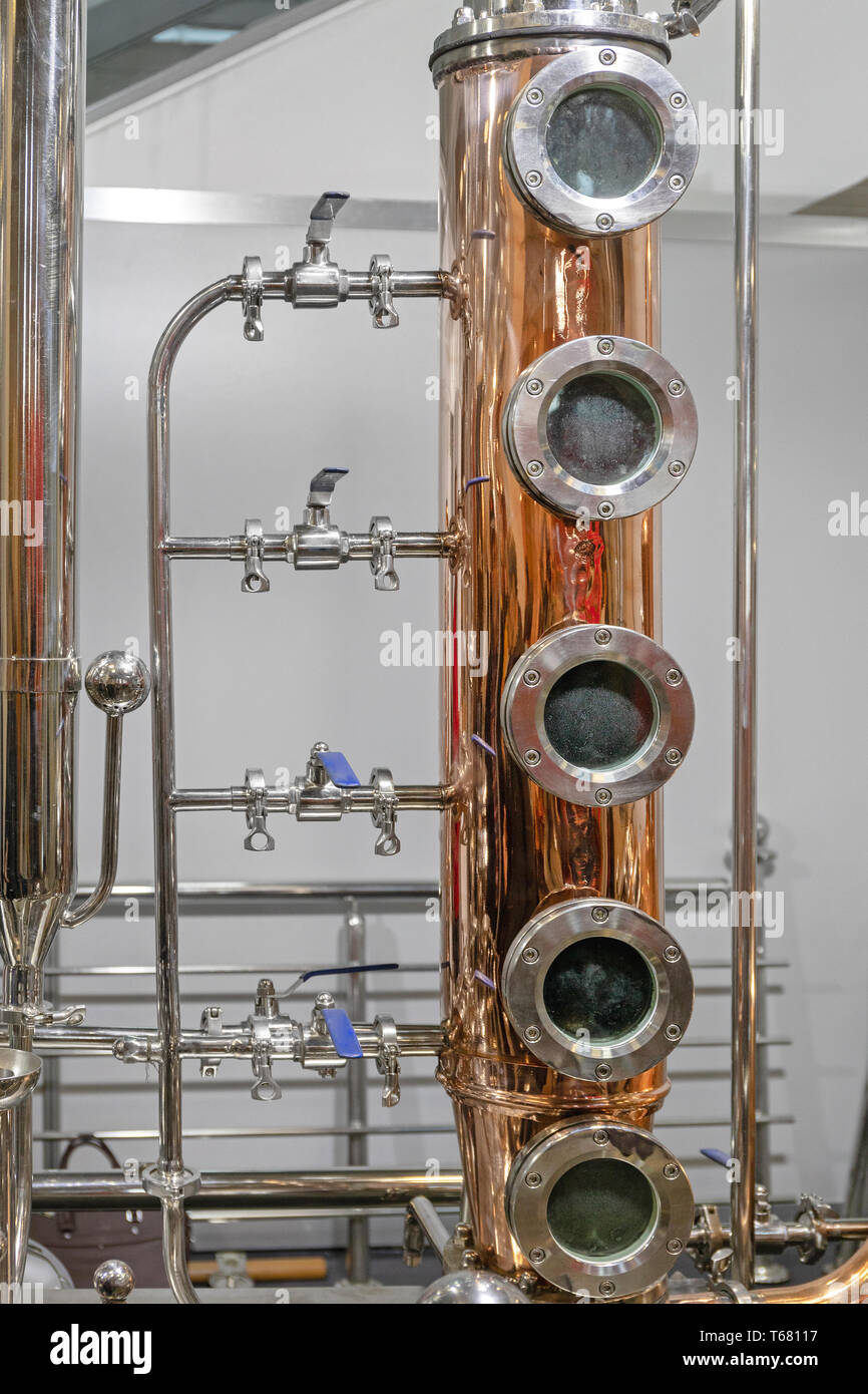 Copper Distilling Column Alcohol Still Brewery Equipment - Stock Image