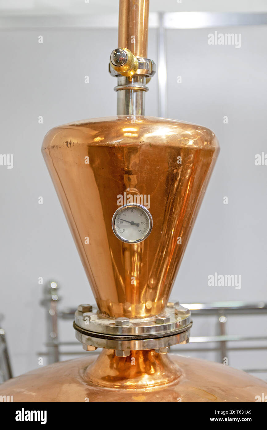 Thermometer Gauge at Copper Distilling Still Brewery Equipment - Stock Image