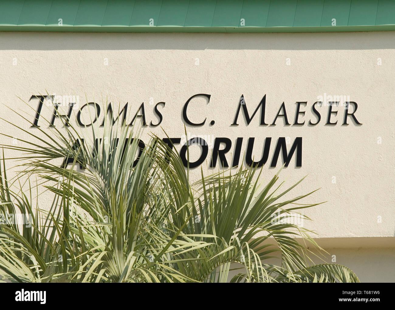 Thomas C Maeser Auditorium sign at Market Common, Myrtle Beach South Carolina USA - Stock Image