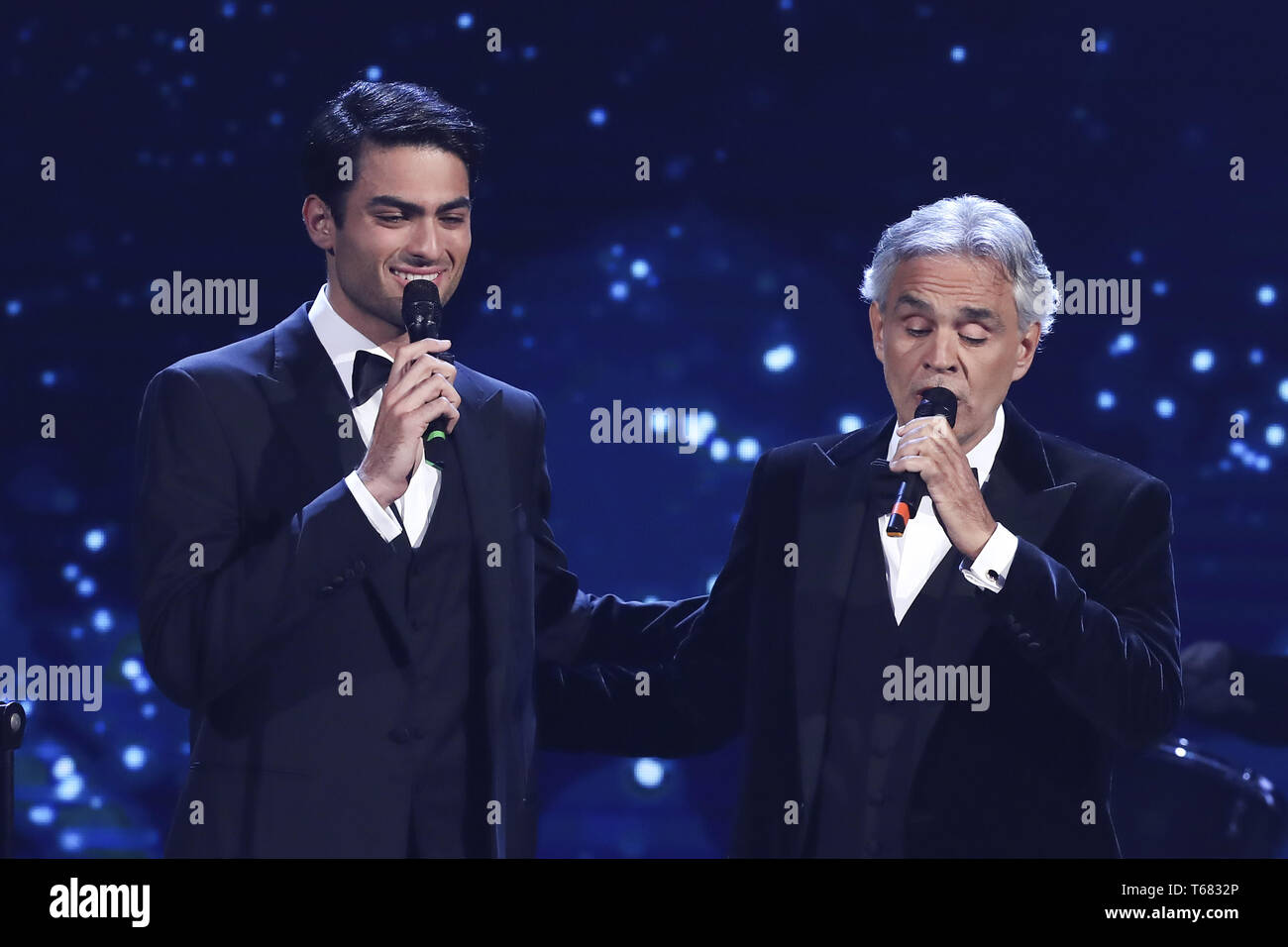 64th David di Donatello Awards - Show  Featuring: Andrea Bocelli, Matteo Bocelli Where: Rome, Italy When: 27 Mar 2019 Credit: IPA/WENN.com  **Only available for publication in UK, USA, Germany, Austria, Switzerland** - Stock Image