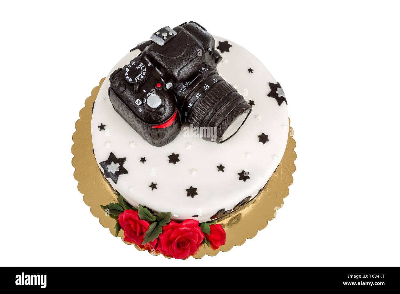 Excellent Birthday Cake For Forty Anniversary With Modern Dslr Photo Camera Personalised Birthday Cards Vishlily Jamesorg