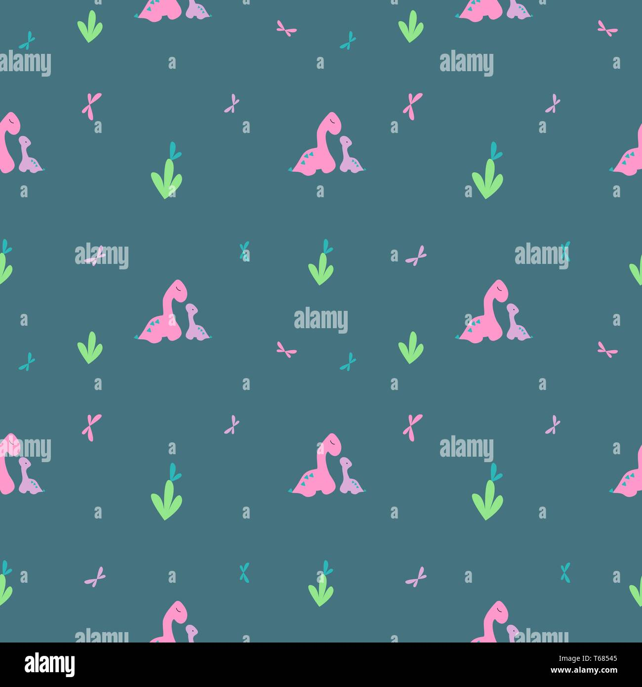 Gentle dino pattern. Pink big, purple little dinosaur and butterflies. Print tile for textiles, clothing. Background for blog or banner. Cards invitat - Stock Image