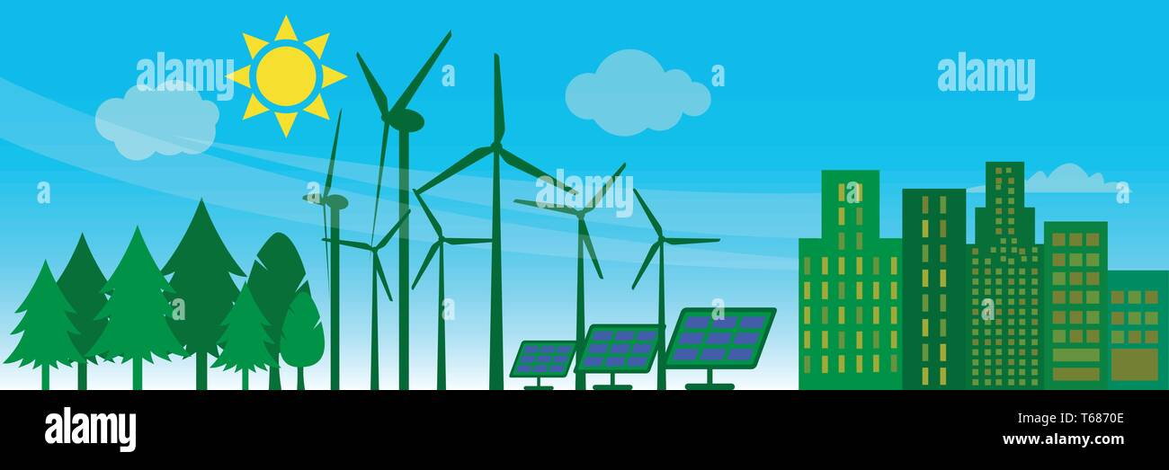 Green energy concept: windmills and solar panels near an apartment building - Stock Vector