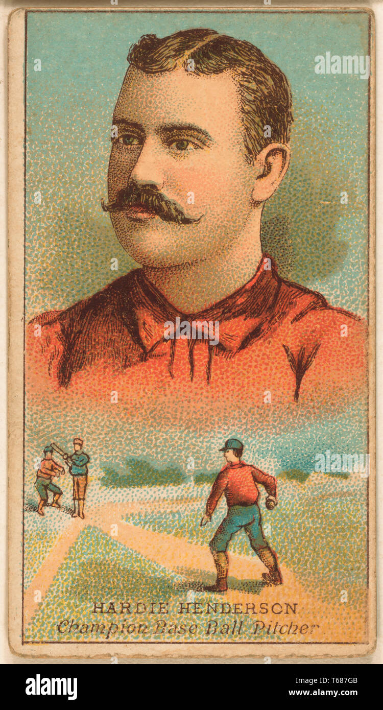 Hardie Henderson, Brooklyn Trolley-Dodgers, Baseball Card Portrait, W.S. Kimball,1888 - Stock Image