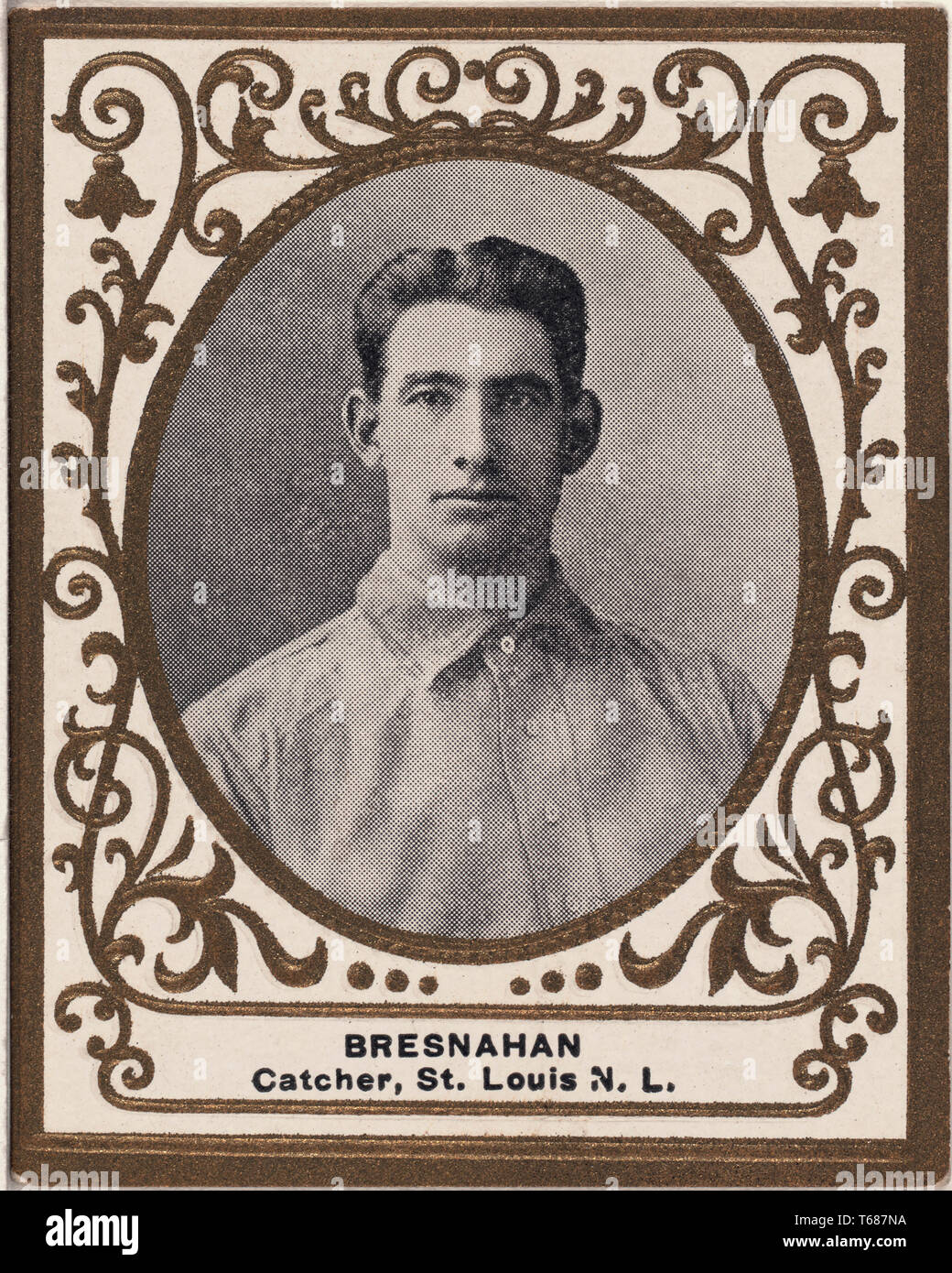 Roger Bresnahan, St. Louis Cardinals, Baseball Card Portrait, American Tobacco Company, 1909 - Stock Image