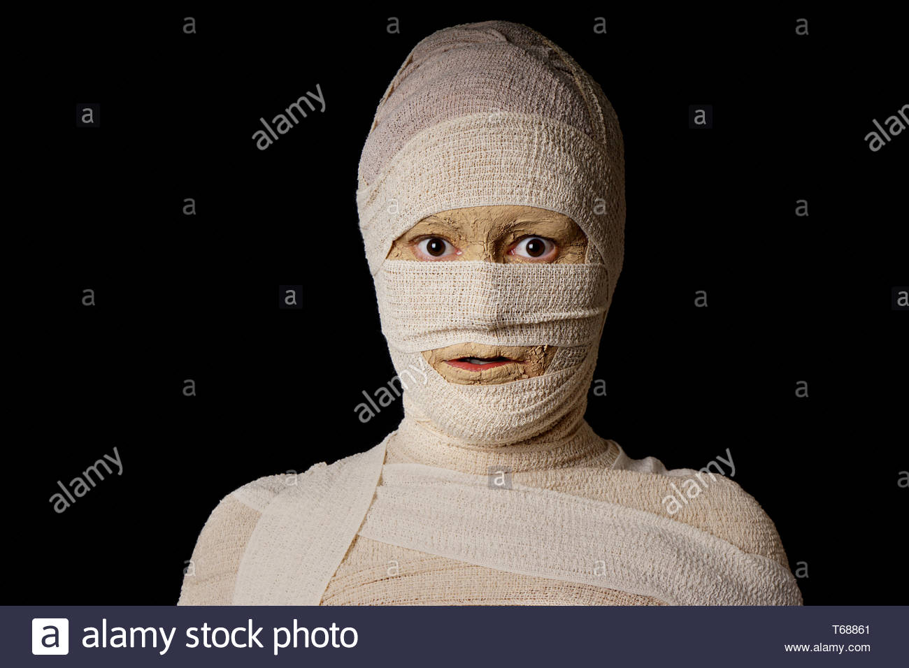 wide eyed egyptian mummy - Stock Image