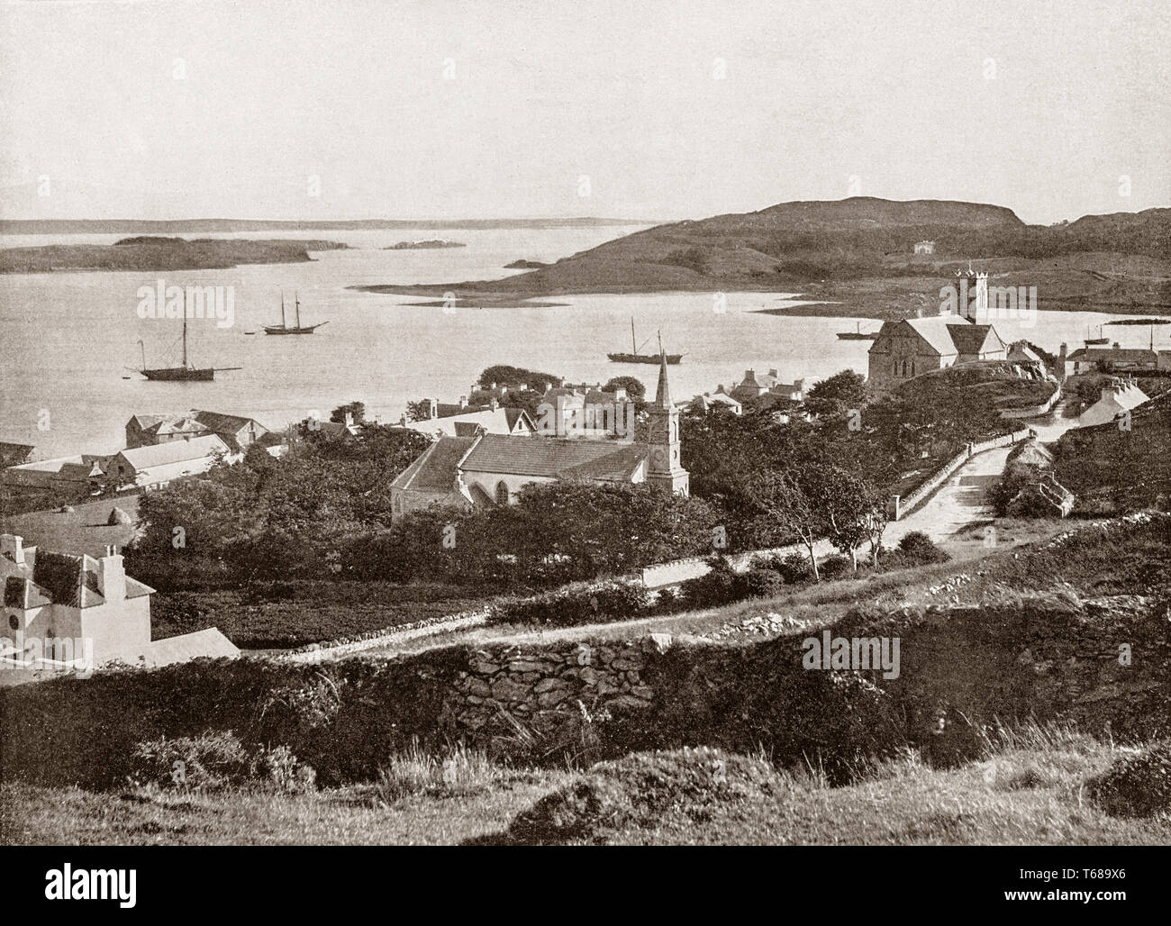 A 19th Century view of Killybegs, situated at the head of a scenic harbour in County Donegal, Ulster Provence, Ireland. It is now the largest fishing port on the island of Ireland. Stock Photo
