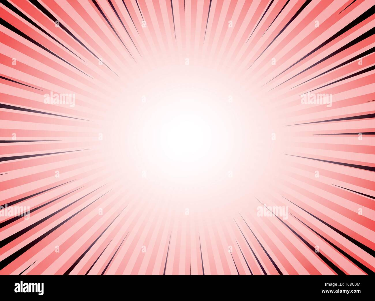 Abstract red living coral color sun burst comic background. You can use for ad, sales, poster, promotion, artwork. illustration vector eps10 - Stock Image