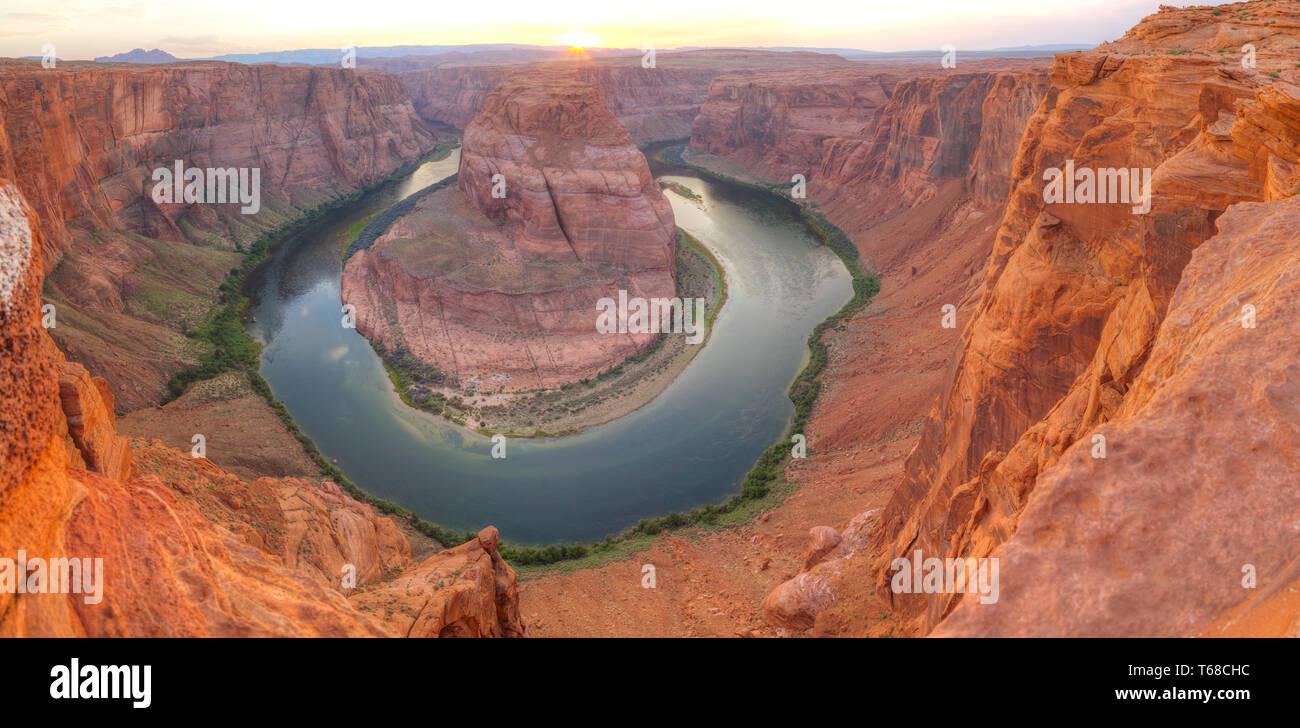 Panoramic overview of Horseshoe Bend near Page, Arizona Stock Photo