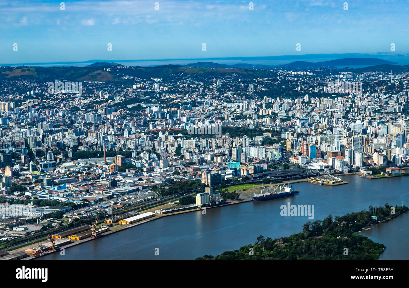 Large cities seen from above. City of Porto Alegre of the state of Rio Grande do Sul, Brazil South America. Stock Photo