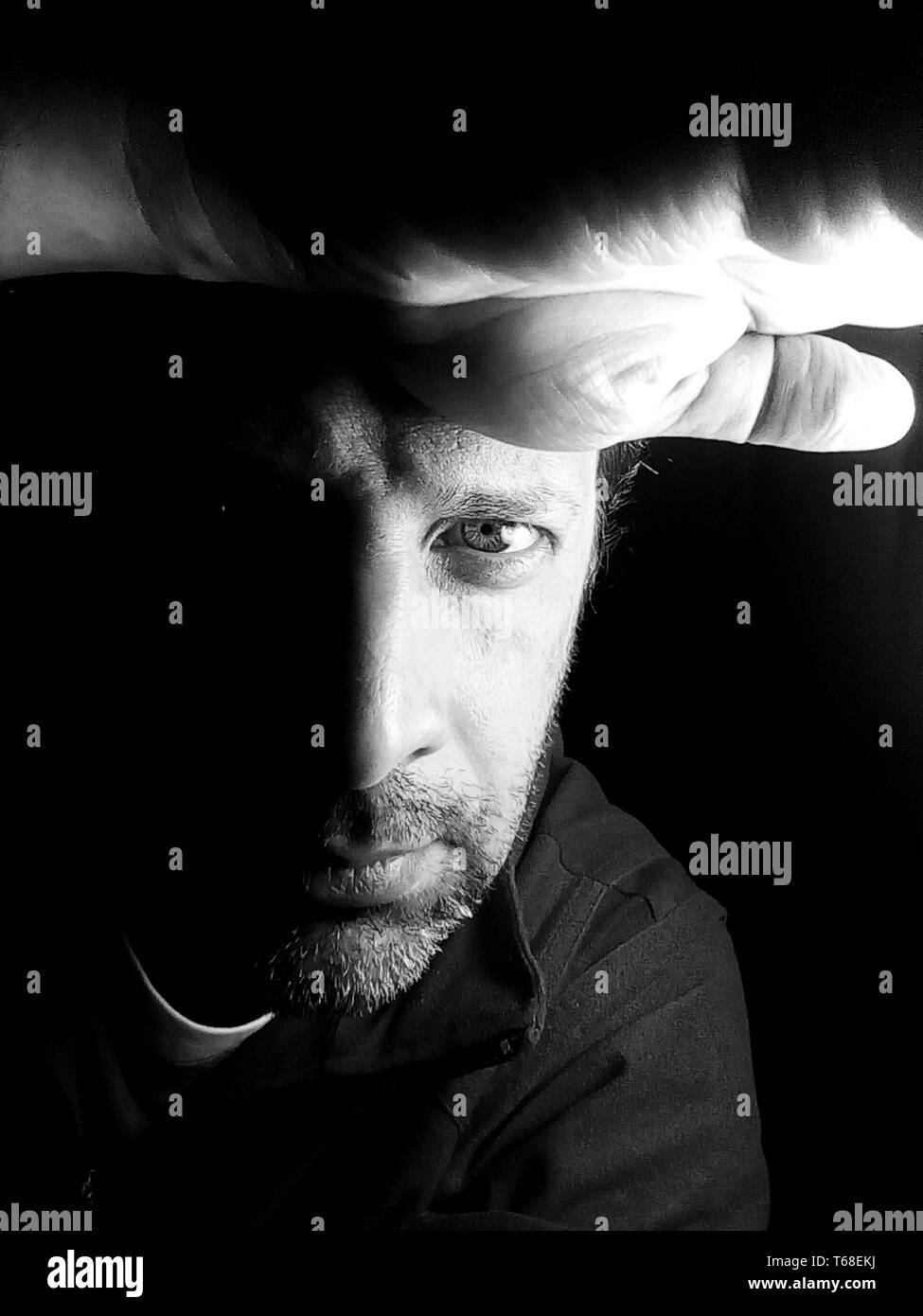 Portrait of a man in black and white - photograph Stock Photo