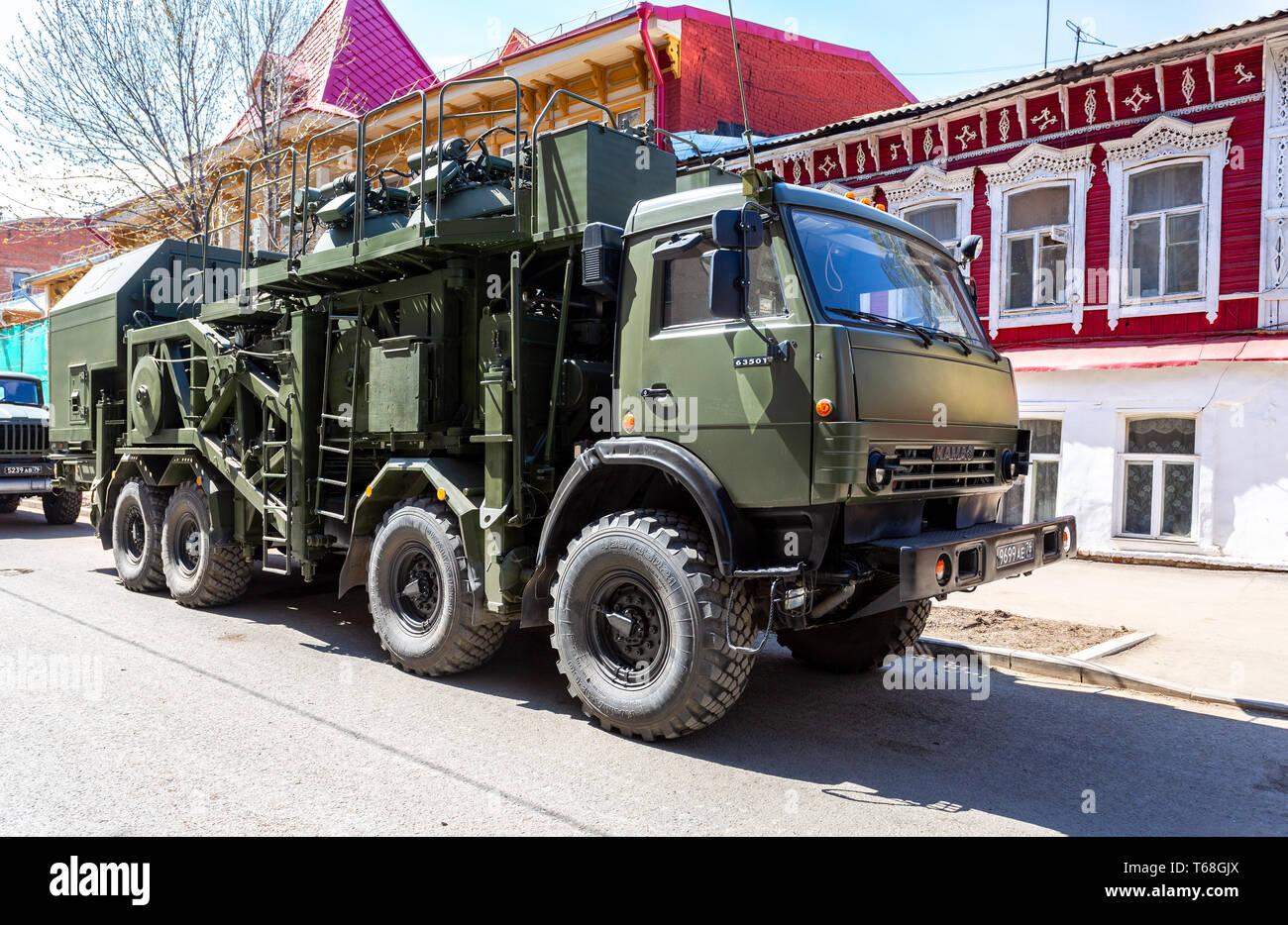 "Samara, Russia - May 5, 2018: Multi-purpose mobile communication complex. Telecommunication complex P-260T ""Redut-2US"" with antenna module R-431AM Stock Photo"