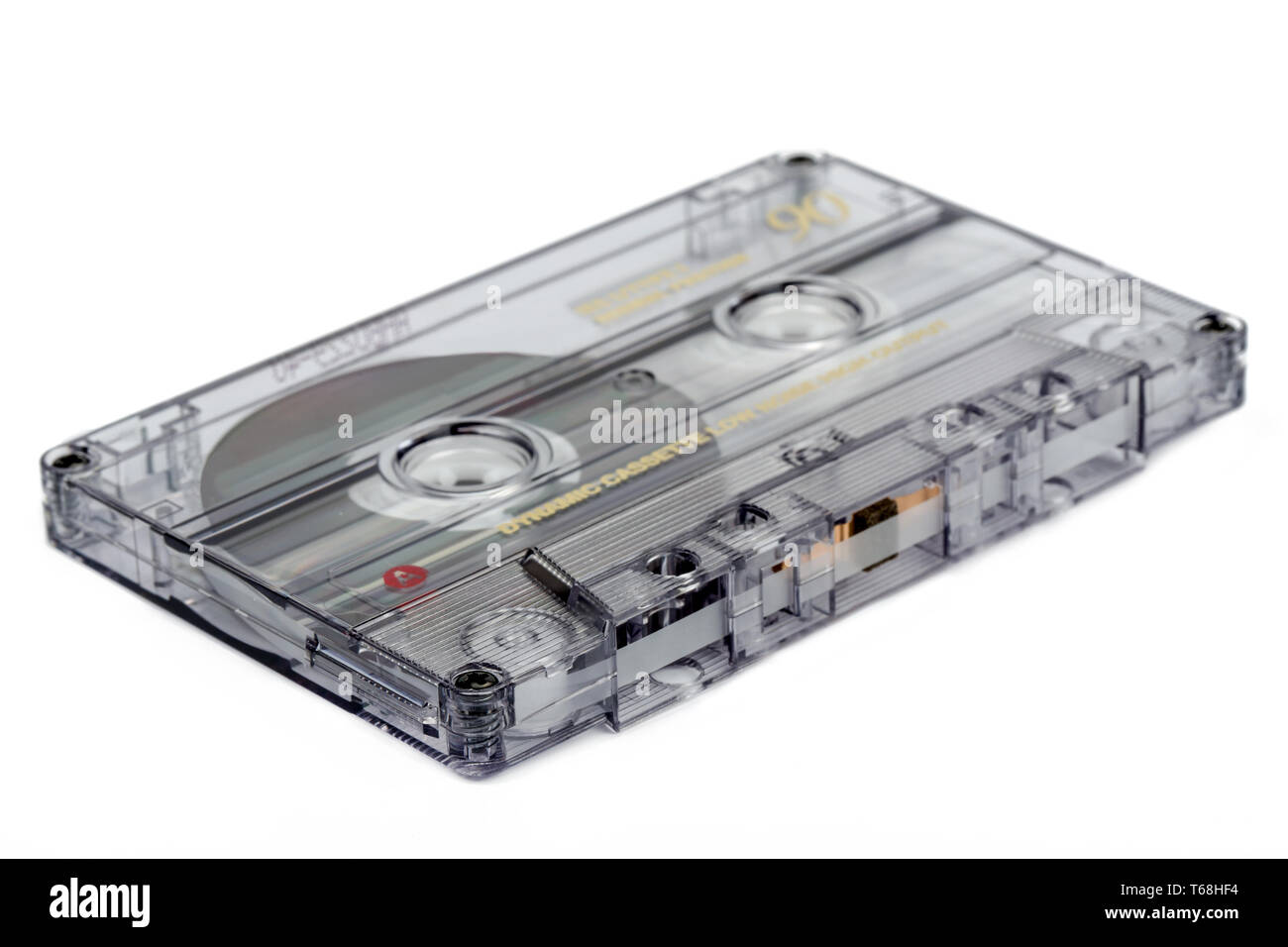close up of vintage audio tape cassette - Stock Image