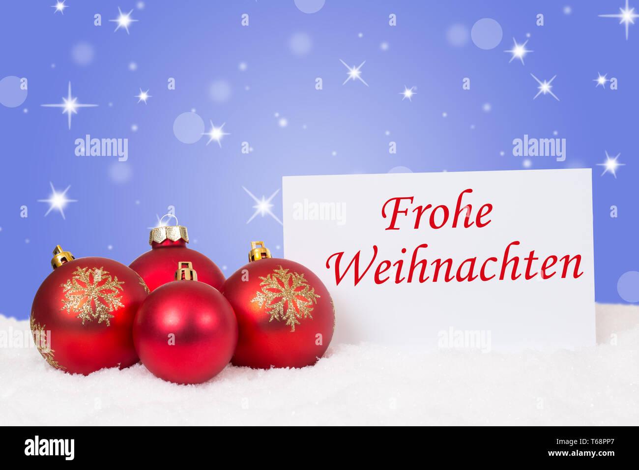 Wünsche Frohe Weihnachten.Frohe Weihnachten Rote Weihnachtskugeln Weihnachtskarte Mit Wünsche